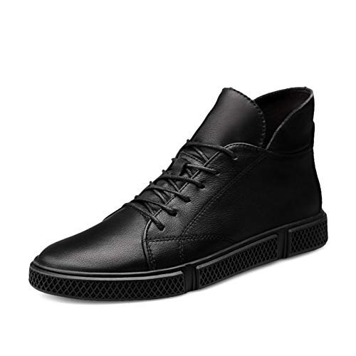 Datouya Men's Oxford Boots Round Toe Mid-top Lace-up Stitching Rubber Synthetic Leather Business Shoes Provide The Best Comfort for Your All-Weather Life (Color : Black, Size : 45 EU)