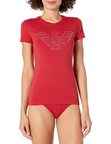 Emporio Armani Damen Christmas Eagle Pajamas Pyjama Set, rubinrot, Medium