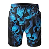 MOONLIT DECAYED Mens Swim Trunks Summer Black and Blue Cool Skull...