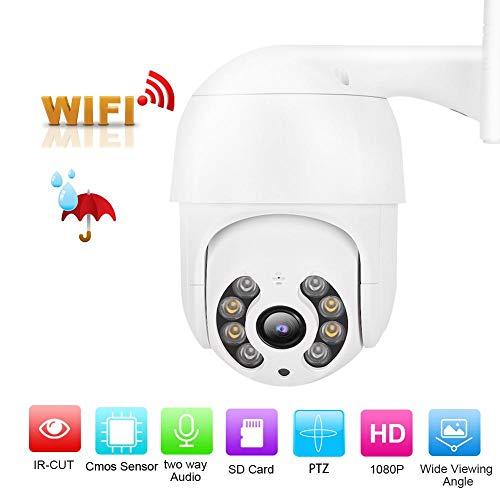 Mini 1080P-camera met realtime bewaking, IP66 waterdichte camera met drie intelligente nachtzichtmodi, 1,5 inch draadloze camera, ondersteuning voor audio-opname en reset met één knop(White)