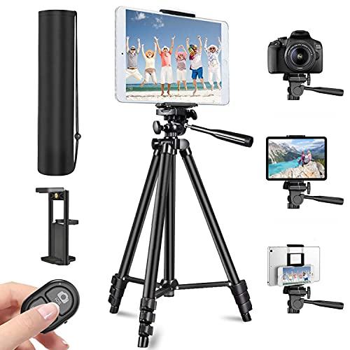 Trépied Smartphone, 3 en 1 Trépied pour Smartphone Tablette Caméra(135cm), avec Télécommande Bluetooth et Support de Téléphone/Tablette, Sac de Transport, Trépied pour Voyage/Youtube/Selfie/TikTok