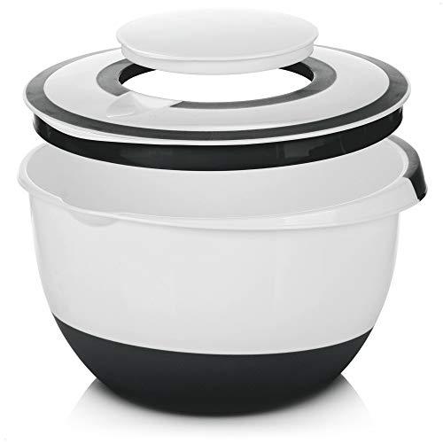 COM-FOUR® 5 l Rührschüssel mit Deckel, Salatschüssel, Frischhaltedose & Backschüssel mit Stoppboden, Spritzschutzdeckel, Rühröffnung und Ausgießer
