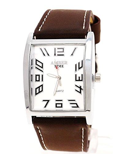 Klassische Herren Uhr in Braun Silber