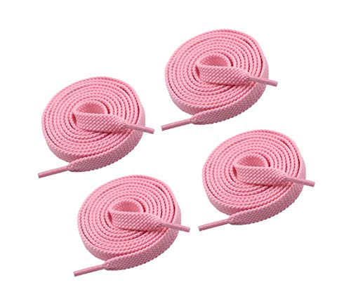 VSUDO Upgrade 24' Double Layer Weave Flat Shoelaces, 5/16' Wide Flat Shoe Laces for Adults & Kids Sneakers or Athletic Shoes [2 Pairs-Light Pink-60CM]