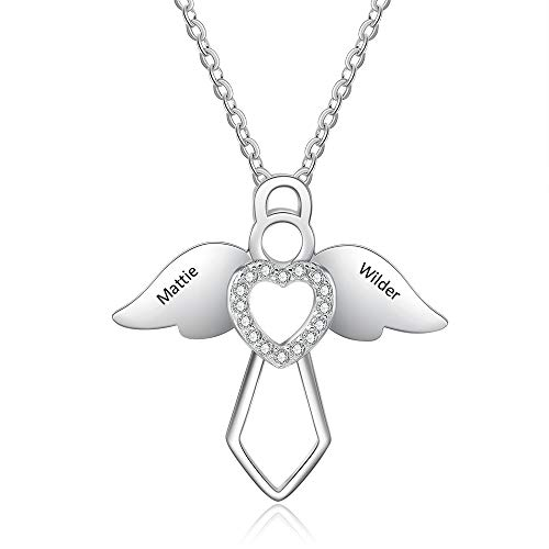 kaululu Customised Love Heart Jewellery Angel Necklace with Engraved Family Children's Names for Mum Nanny Pendant Personalised heart necklace for Women (Angle)
