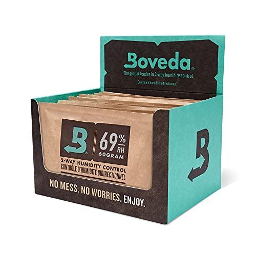 Boveda per sigari/tabacco | regolatore di umidità a 2 vie UR 69% | Formato 60 per uso ogni 25...