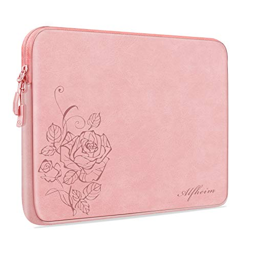 Alfheim Laptop Sleeve Case 14 inch,Waterproof Shock Resistant Fashion Lightweight Flower PU Leather Bag Case for Notebook Tablet iPad Pink