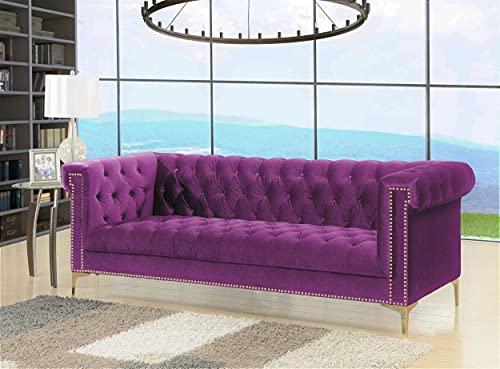 Iconic Home Gold/Purple Bea Velvet with Nail head Trim Tone Metal Sofa
