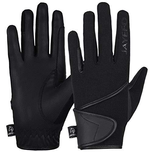 Jayefo All Season Men & Women Horse Riding Gloves (Black, Large)