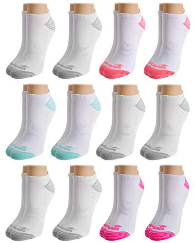 Avia Women's Performance Moisture Wicking Mesh Vent No Show Socks (12 Pack), White, Shoe Size: 4 - 10
