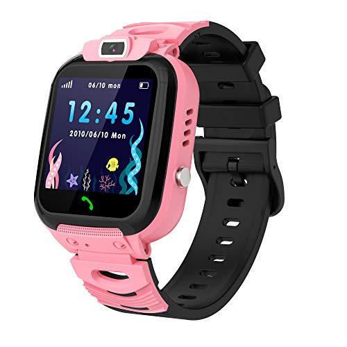 Smartwatch Niño, Reloj Inteligente Niña Ip68, LBS SOS Llamada Bidireccional, Smartwatch Phone con Voice Chat Cámara Juegos Compatible para Android e iOS(Rosado)