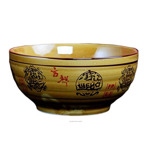 Ciotola in ceramica, insalatiera, ciotola per ramen retrò, grande ciotola di zuppa (colore: 32,5 cm).