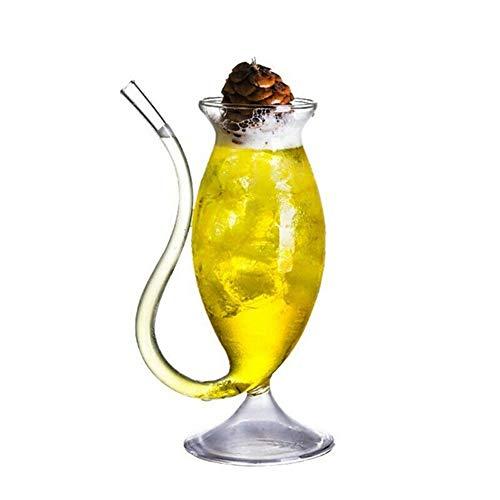 Copa De Whisky De Vino, Copas De Vino Con Pajitas Incorporadas, Copa De Vidrio Sin Plomo Con Pajita, Cristal Creativo, Copas De Vino Transparentes Para Cumpleaños, Bodas, Casas De Vacaciones,340ML