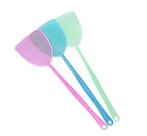 Wapern - Juego de 3 matamoscas de plástico para matamoscas, Mango de 17.5'', para el hogar y la Cocina, 3 Colores