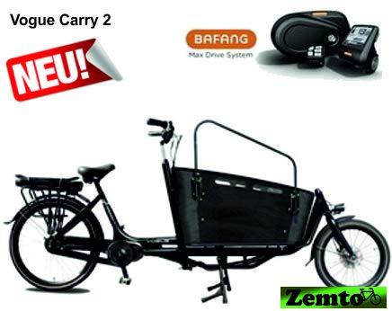 Elektro Transportfahrrad/Bakfiets Vogue Carry 2 Rad 7 Gang Schwarz*