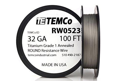 TEMCo Titanium Wire 32 Gauge 100 FT Surgical Grade 1 Resistance AWG ga