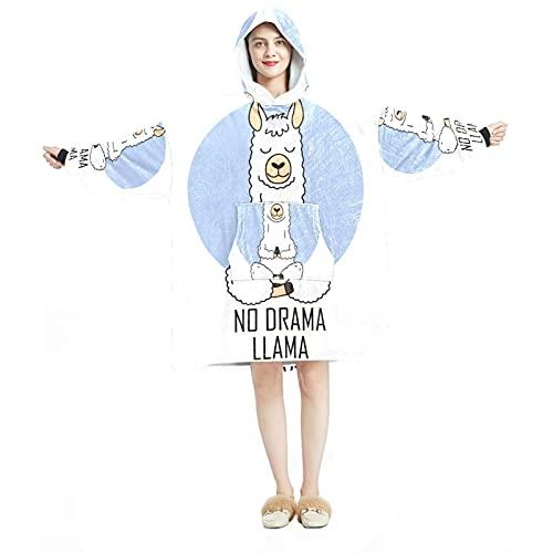 Manta con capucha, informal de microfibra suave, camisón cálido para hombres y mujeres con lindos diseños de alpaca Llama Do Yoga Animal