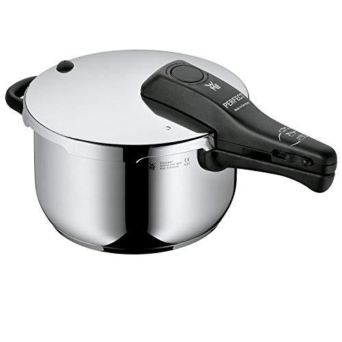 WMF Perfect Schnellkochtopf Induktion, Dampfkochtopf 4,5l, 22 cm, Cromargan Edelstahl poliert, 2 Kochstufen, Einhand-Kochstufenregler