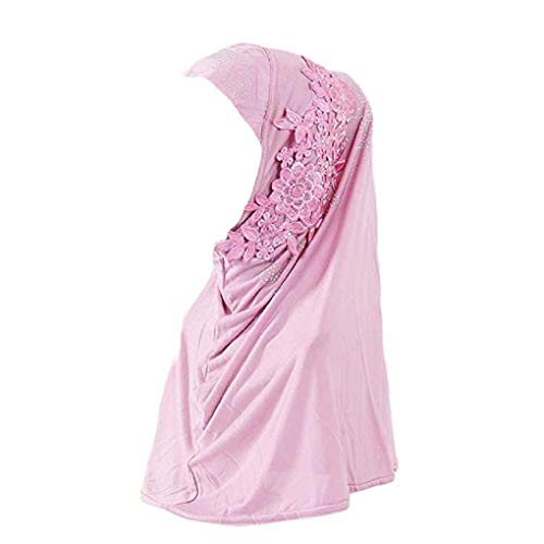 Women One Piece Muslim Hijab Lace Applique Head Wrap Scarf Shawl with Rhinestones - pink - One Size