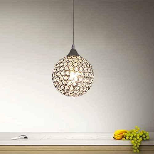 Goeco Lámpara colgante, Lámparas de araña de bola cristal, Lámpara de techo E27, para Dormitorio Salón Pasillo Restaurante, diámetro 18cm, 1 pcs(Sin bombilla)