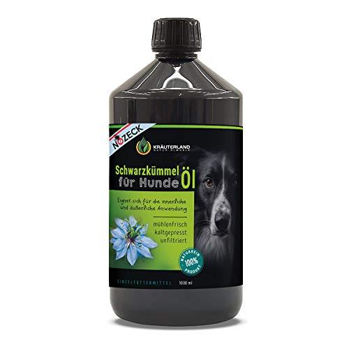 Kräuterland - Schwarzkümmelöl für Hunde 1000ml - 100{10c364c83dade78d8e29da09c37e392acf3924bceea144e70cf2ed7e380a2b91} rein, ungefiltert, kaltgepresst - mühlenfrisch direkt vom Hersteller - Fütterung & Fellpflege