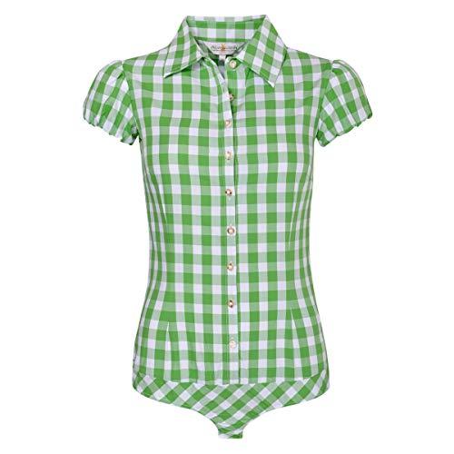 Almsach Damen Trachten-Mode Blusenbody Rita in Hellgrün traditionell, Größe:32, Farbe:Hellgrün
