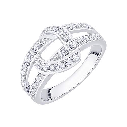 KATARINA Anillo de moda de diamantes en plata de ley (3/8 cttw, I-J, I1-I2) (tamaño 8)