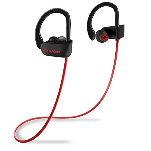 FIRACORE Bluetooth Headphones, Sports Wireless Headphones Bluetooth Earphones IPX7 Waterproof Earbuds with Mic, HD Stereo, Heavy Bass, Noise Cancelling Headsets for Running Workout Gym (Red) (red)