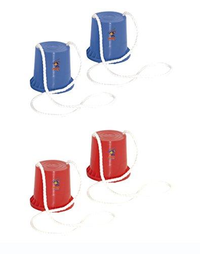 HUDORA Dosen Stelzen für Kinder, Topf-Stelzen Kinder joey, 1 Paar rot oder blau - zufällige Auswahl, Laufstelzen