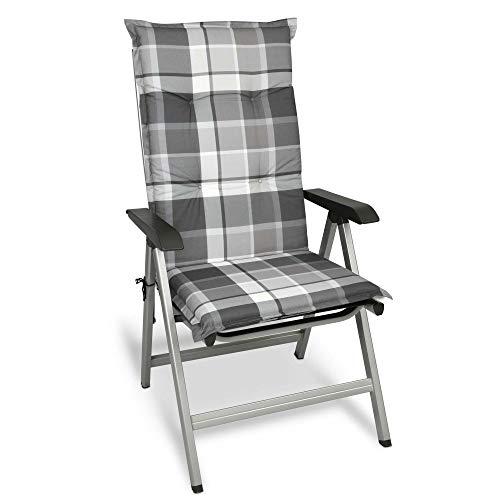 Beautissu Cojín para sillas de Exterior y jardín con Respaldo Alto Sunny GK Gris 120x50x6 cm tumbonas, mecedoras, Asientos cómodo Acolchado Resistente a Rayos UV