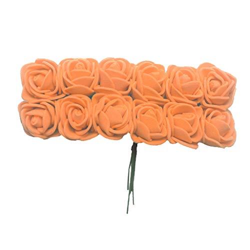 Colcolo 144 Stück Schaumrosen Künstliche Blumen Schaumrosen Blütenköpfe Schaumschaum - Orange