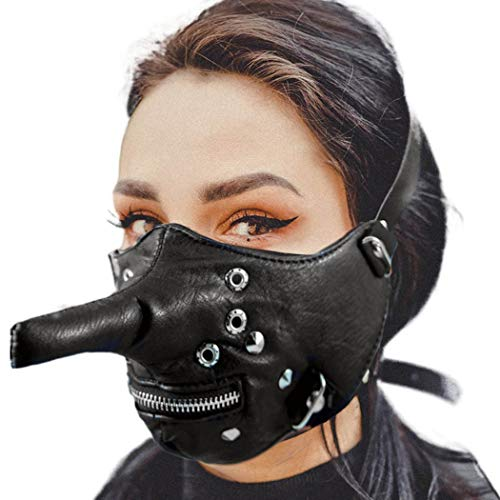 Punk Pinocchio Leather Mask Zipper Black Resuable Mouth Covering Cosplay Waterproof Unisex Half Mouth Shiled for Motorcycle Biker Punk Rock