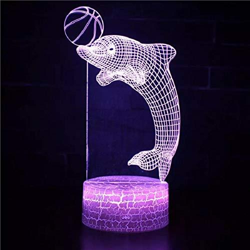 Lámpara de mesa de acrílico 3D multicolor con luz de noche con base de grieta linda delfín y bola