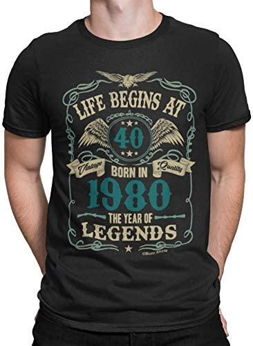 Mens 40th Birthday Gift - Life Begins at 40 Mens T-Shirt - Born in 1980