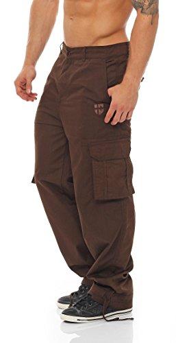 Gennadi Hoppe Herren Cargo Hose Pant Freizeithose Cargohose Baumwoll Hose viele Taschen Arbeitshose,braun,Medium