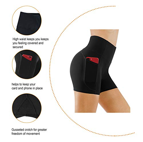 THE GYM PEOPLE High Waist Yoga Shorts for WomenTummy Control Fitness Athletic Workout Running Shorts with Deep Pockets (Small, Black)