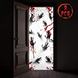 KD KIDPAR 2Pcs 80×36' Large Halloween Door Decorations for and Window Posters for House, Scary Zombie Bloody HandprintsCover Indoor and Outdoor