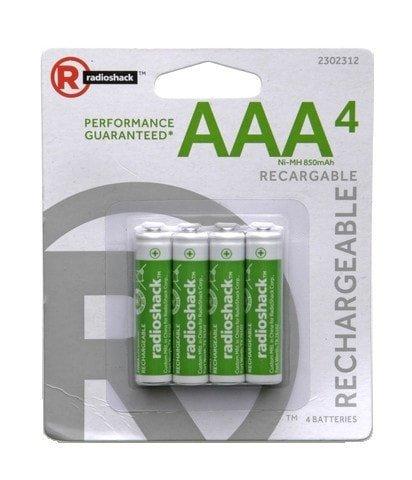 RadioShack AAA Ni-MH Rechargeable Batteries, 900 mAh (4-Pack)