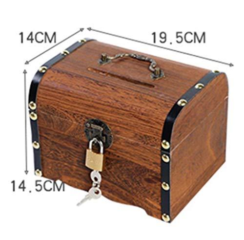 EDCV Spaarpot 1 ST Handgemaakte Vintage Kind Cash Coin opbergdoos Houten Spaarpot Kluis Spaarpot Besparingen Houtsnijwerk, grote