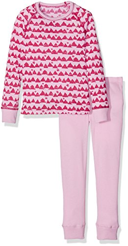 Odlo Kinder Set WARM Kids Shirt l/s Pants Long Unterwäsche Lang Ki, Sangria/Winterrose/Allover Print, 152
