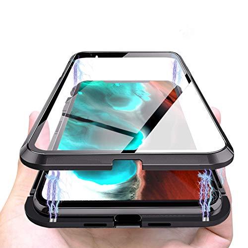 Cover Magnetica Compatibile con iPhone 12/12 Pro, Adsorbimento Magnetica 360 Gradi Full Body, Double Face Vetro Trasparente, Custodia Magnetica Protettiva Compatibile con iPhone 12/6.1'-[Nero]