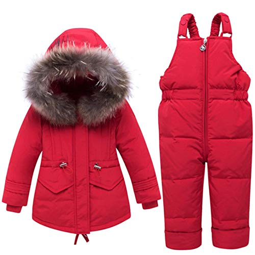 xuzheng Warme Winter-Anzüge für Jungen und Mädchen, mit Daunenjacke und Hose, Kleidungs-Sets, Kinderkleidung für Schnee