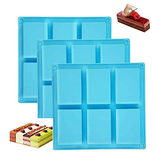 ETHEL Silikon Seife Form, 3 Stück 6Hohlräume Rechteckige Silikonseifenform,Seife DIY Formen,für Handgemachte Silikonseifenform,Schokolade,Biscuit Hausgemachte Seifenform (Blau)