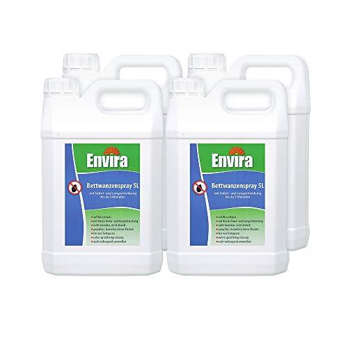 Envira Bettwanzen-Spray - Anti-Bettwanzen-Mittel Mit Langzeitwirkung - Geruchlos & Auf Wasserbasis - 4x5Ltr