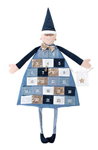 Rayher 46455376 Adventskalender zum Befüllen, Stoff, royalblau, 118 x 53 cm, Adventskalender Kinder, Adventskalender Jungen, genäht aus unterschiedlichen Stoffarten in Weiß und Blautönen