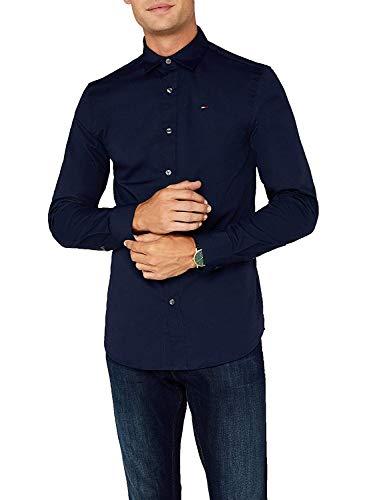 Tommy Hilfiger Original Stretch Shirt Camisa, Azul (Black Iris), S para Hombre