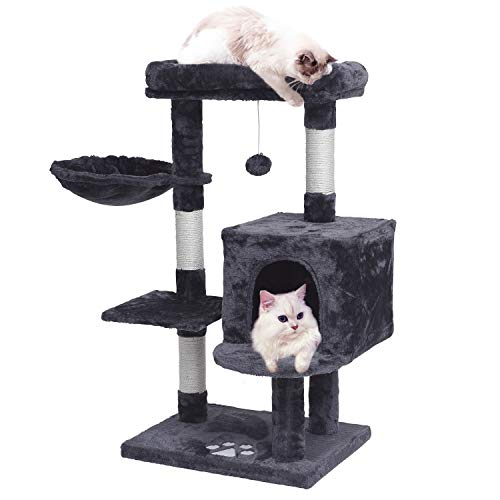 MQ Multi-Level Cat Tree Condo, Activity Center Cat Tower Furniture 36'' with Sisal-Covered Scratching Posts, Padded Plush Perch, Spacious Cat Cave & Baske for Small Kittens Adult Cats (Smokey Grey)