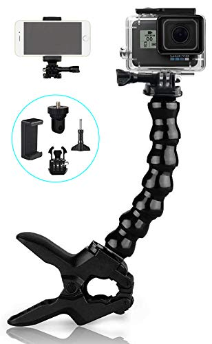 Topmener Jaws Flex Clamp Mount with Adjustable Gooseneck Compatible with Gopro Hero 8 Hero 7 Hero 6 5 4 (2018), Session, Fusion, 3+, 3, 2, 1, DJI Osmo Xiaomi Yi Camera Mounts and Supports