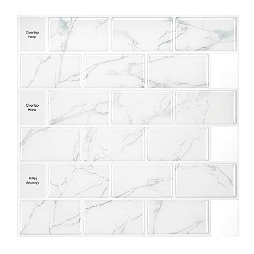 MORCART Marmor Fliesenaufkleber Selbstklebende Backsplash U-Bahn-Fliesen Wallpaper 3D-Aufkleber für Küchenschränke Badezimmer Kamin Bodentreppe Abnehmbar Wasserdicht 12