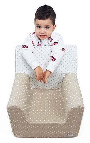 Borda y más Sillón o Asiento Infantil de Espuma para bebés y niños. Varios Modelos y Colores Disponibles. (Estrellas Camel)